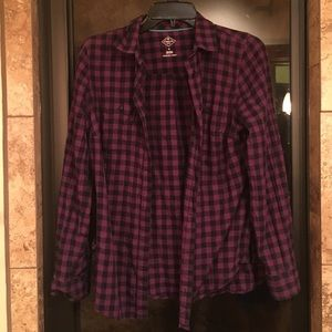 Purple and black checkered button down